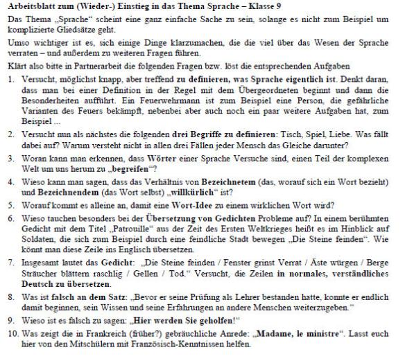 """Das Bild zeigt 10 Fragen zum Thema """"Sprache"""", von der Definition bis hin zur Übersetzung schwieriger Gedichtzeilen."""