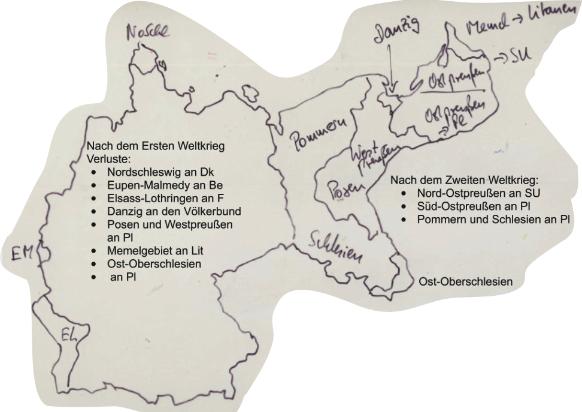 Die Karte zeigt die nach dem Ersten und dem Zweiten Weltkrieg verlorenen deutschen Gebiete