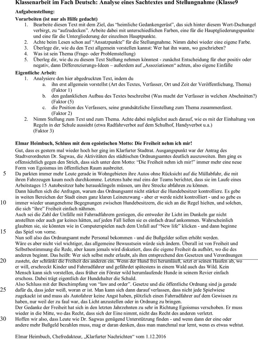 bei der klassenarbeit geht es um die analyse des kommentars sowie um eine begrndete stellungnahme zum text und zum thema - Dialektische Erorterung Beispiel Klasse 9